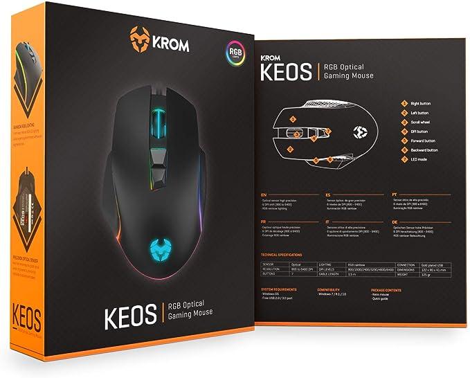 Krom Keos Nxkromkeos Gaming Maus Mit Hoher Präzision 6400 Dpi Rgb Rainbow 7 Programmierbare