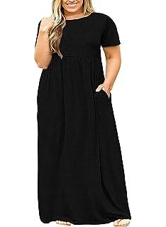 e34534dc3bc POSESHE Women s Plus Size Tunic Swing T-Shirt Dress Long Sleeve Maxi Dress  with Pockets