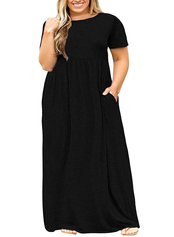 POSESHE Women Short Sleeve Loose Plain Casual Plus Size Long Maxi Dress with Pockets Black 2XL
