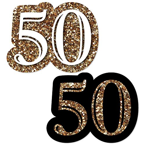 Adult 50th Birthday - Gold - DIY Shaped Birthday Party Cut-Outs - 24 Count