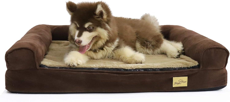 Bingopaw Cama Ortopédica de Espuma para Perros, Sofá Cama para Mascotas Desmontable Impermeable y Lavable, Colchoneta Perro Suave y Cómoda, Color Marrón, 80 x 60 x 17cm