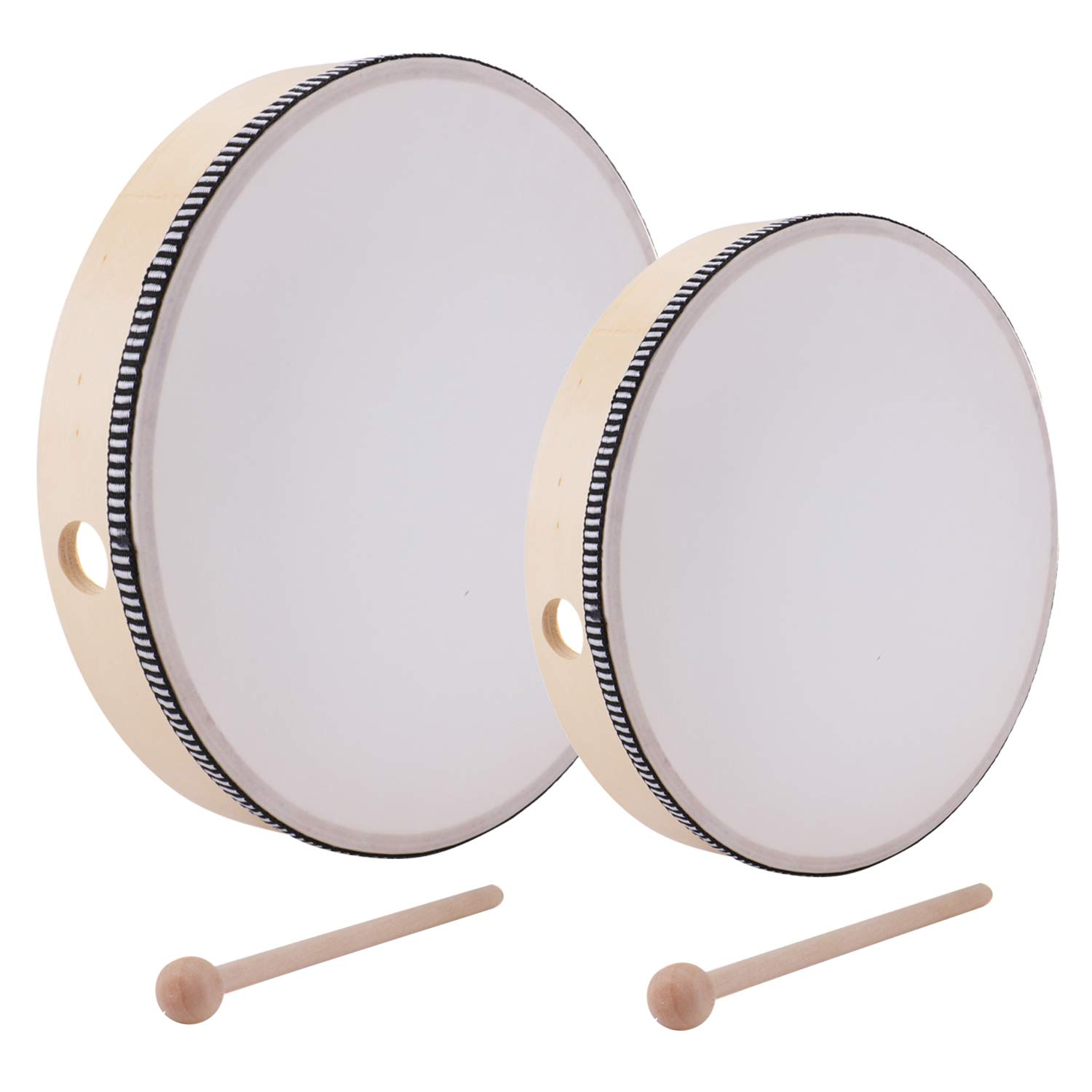 Foraineam 10 Inch & 8 Inch Hand Drum Kids Percussion Wood Frame Drum with Drum Stick by Foraineam