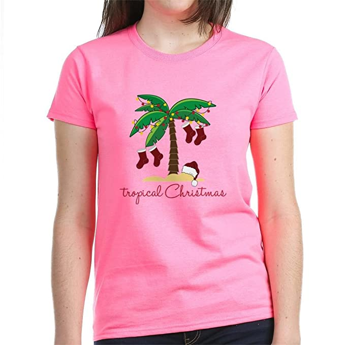 2daea4ffa60 CafePress - Tropical Christmas Women s Dark T-Shirt - Womens Cotton T-Shirt