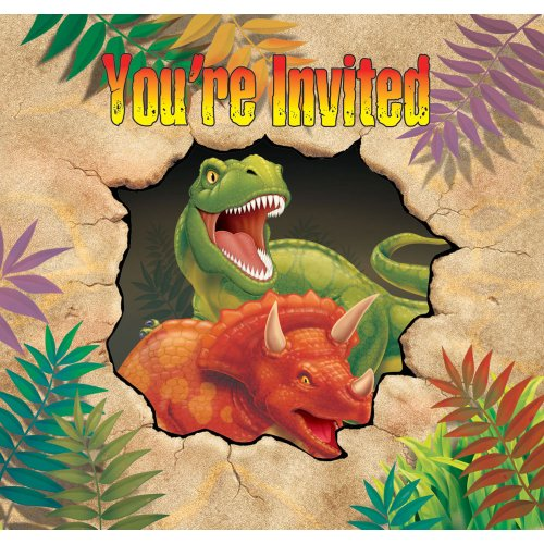 Creative Converting Dino Blast 8 Count Enhanced Party Invitations ()