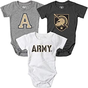 Wes and Willy Infant Army Black Knights Bodysuits 3 Pack Organic Cotton Set (12 M)