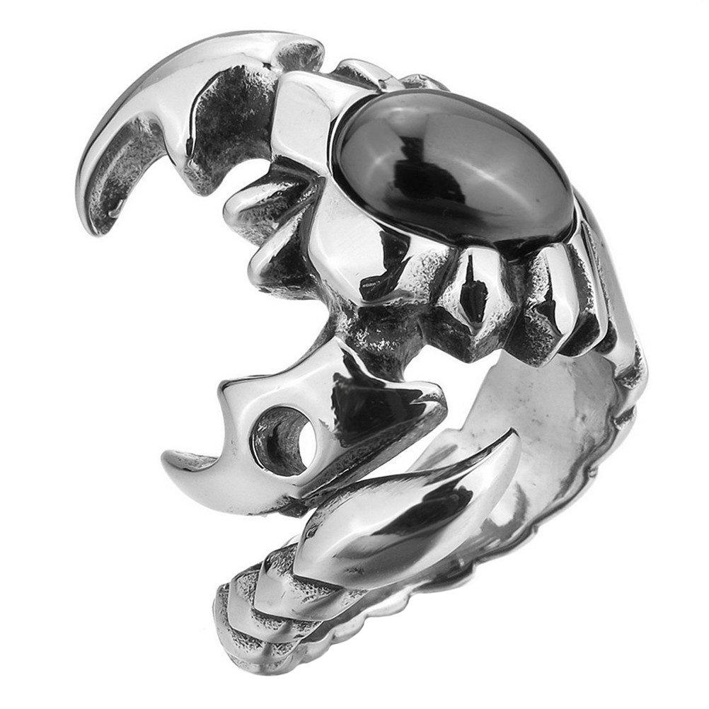 PAMTIER Uomo Acciaio Inossidabile Scorpione Anello Pietra Preziosa Intarsio Gotico Tribal Argento Aperto Banda 79RYI8-032