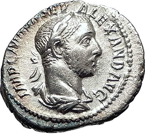 226 IT SEVERUS ALEXANDER sacrificing over altar 226AD AR coin ()