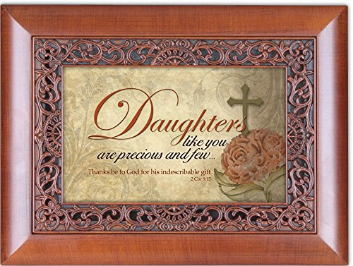 Daughters Precious And Few Woodgrain Inspirational Cottage Garden Ornate Inlay Music Box Plays Amazing Grace (Box Music Daughter Precious)