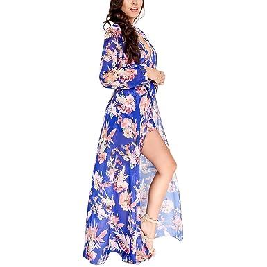 935eb06c5b79 YYF Womens V-Neck Floral Print High Low Split Beach Romper Maxi Dress  Jumpsuit