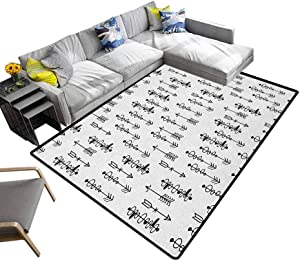 Tribal Carpet mat Hand Drawn Sketchy Image with al Inspired Shapes Arrows Print Rug for Living Room,Kids Room,Bedroom Black and White (6'x9')