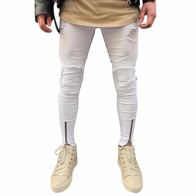 a72dd19d0e Pantalones de hombre Ripped Slim Fit motocicleta Vintage Jeans Pantalones  de Streetwear de Hiphop Pantalones de