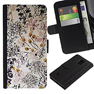 APlus Cases // Samsung Galaxy S5 Mini, SM-G800, NOT S5 REGULAR! // Las flores delicado Composición Arte // Cuero PU Delgado caso Billetera cubierta Shell Armor Funda Case Cover Wallet Credit Card