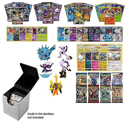 (Playoly Pokemon Premium Collection 100 Cards with GX Mega EX Shining Holo 10 Rares 4 Booster Pack -White Dragonhide Deck Box- Figure)