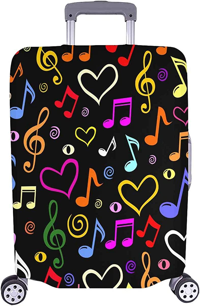 INTERESTPRINT Travel Luggage Cover Suitcase Protector Fit 18-28 Inch Musical Notes