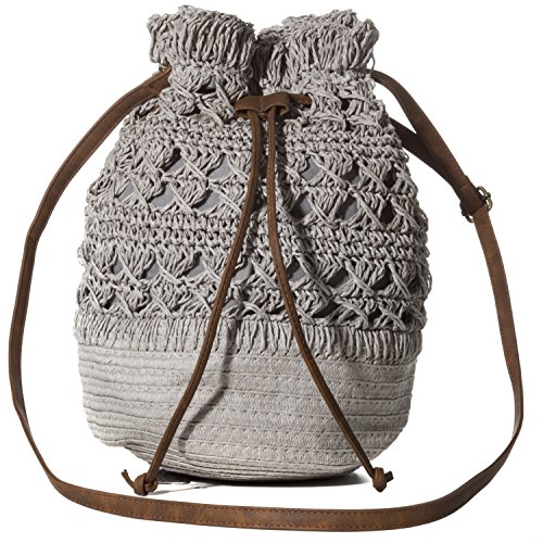 Handbag Republic Womens Summer Beach Straw Woven Purse Drawstring Bucket Style Shoulder Bag Crossbody Bag