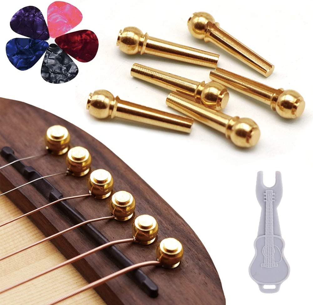 6 Pieces Musiclily Slotted Acoustic Guitar Bridge Pins,Ivory Body with Black Dot