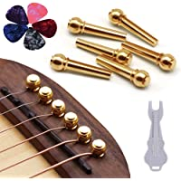 Guitar Bridge Pins 6pcs Pure Brass Endpin for Acoustic Guitar 6 Strings Nail Pegs Fixed Cone, Replacement Parts with…