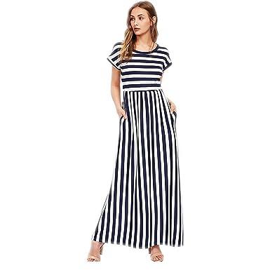 wholesale dealer add00 bb7ff Vestito a Righe Donna Estivo Mode Stile Impero Abiti Maniche ...