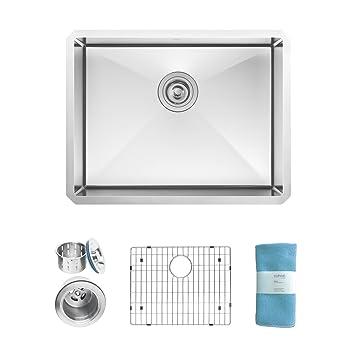 zuhne modena 23 inch undermount deep single bowl 16 gauge stainless steel kitchen sink