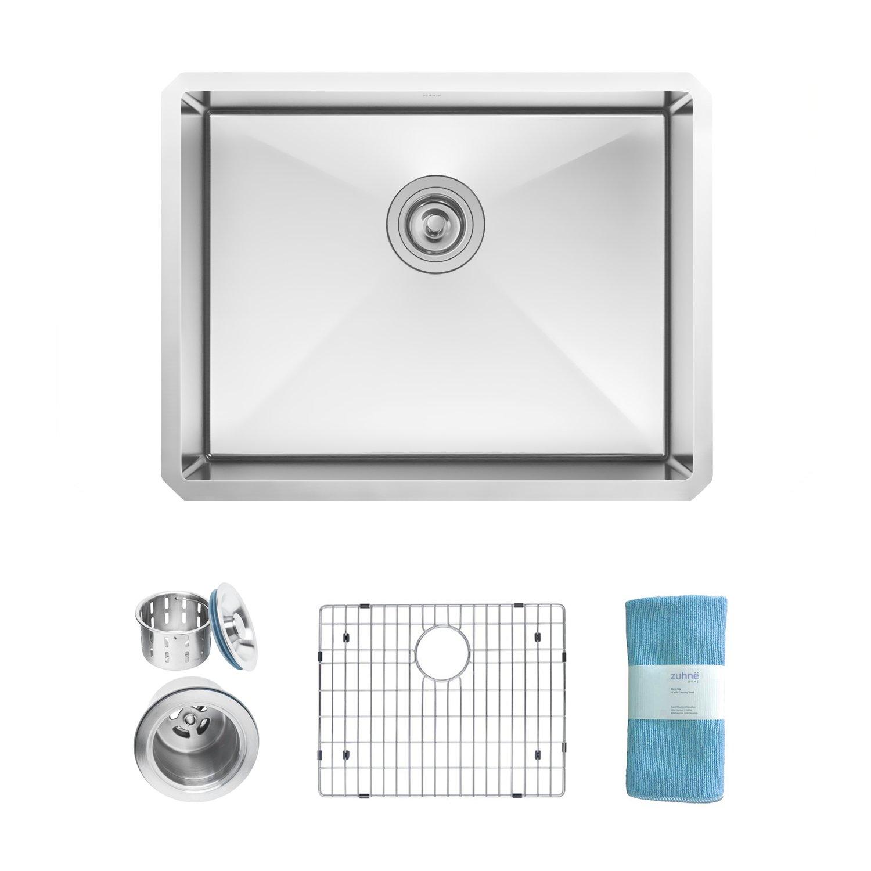 Zuhne Modena 23 Inch Undermount Deep Single Bowl 16 Gauge Stainless Steel Kitchen Sink by Zuhne