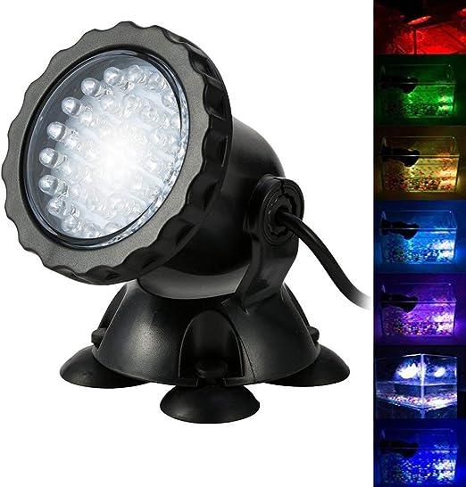 BLOOMWIN Proyector de Acuario 3.5W 12V 36 LEDs IP68 Luz Sumergible ...