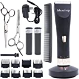 Maxshop Professional Hair Clippers for Men and Babies Quiet Clippers Cordless Haircut kit with Charging Dock, 8 Comb Guides, 2 Scissors ,1 Hair Comb Self Hair Cutting System (Black)