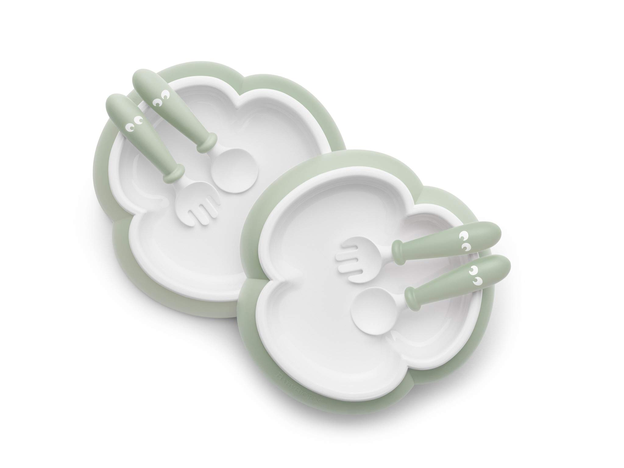 BABYBJORN Baby Plate, Spoon and Fork, 2 Sets, Powder Green