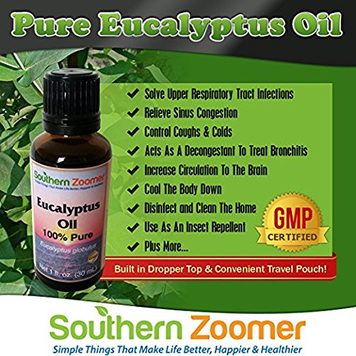"100% Pure Eucalyptus Globulus Essential Oil. Best for Aromatherapy, colds, chest rub, cough, congestion, sinus, cleaning, dust mites, joint & muscle pain, sauna & more. FREE ebook ""Benefits and Uses"""