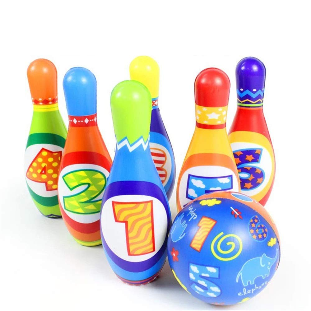 KMCMYBANG Bowling Toy Bowling Toy Set Game Colorful Plastic Bowling Ball Pins Party Favors Kit Sport Toddler Educational Toys 7 Pcs Gift for Kids Baby Kids Bowling Toys (Color, Size : 19cm) by KMCMYBANG