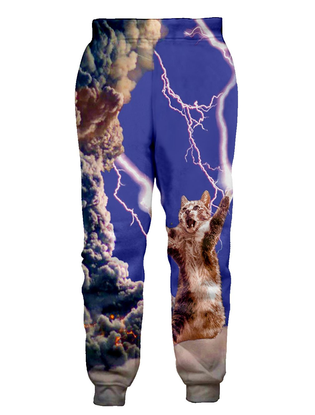 Leapparel Unisex Humor Lightning Cat Pants Elastic Drawstring Hip Hop Rock Sweatpants Trousers XL,Lightning Cat