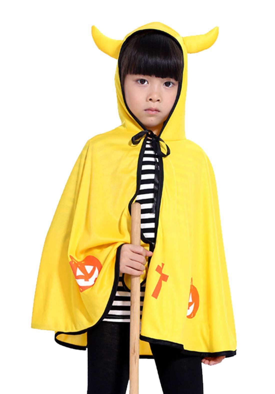 Kids Boys Pumpkin Pattern Cloak Cosplay Costume Robe Clothing with Devil Horn Hood - Red