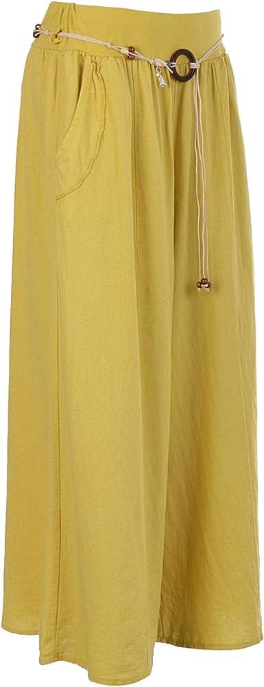 Storm Island - Pantalón Corto de Lino Italiano para Mujer Amarillo ...