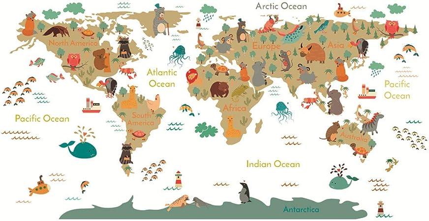 carte du monde pour maternelle Bearbelly 3D Sticker Mural Autocollant Stickers Carte du Monde des