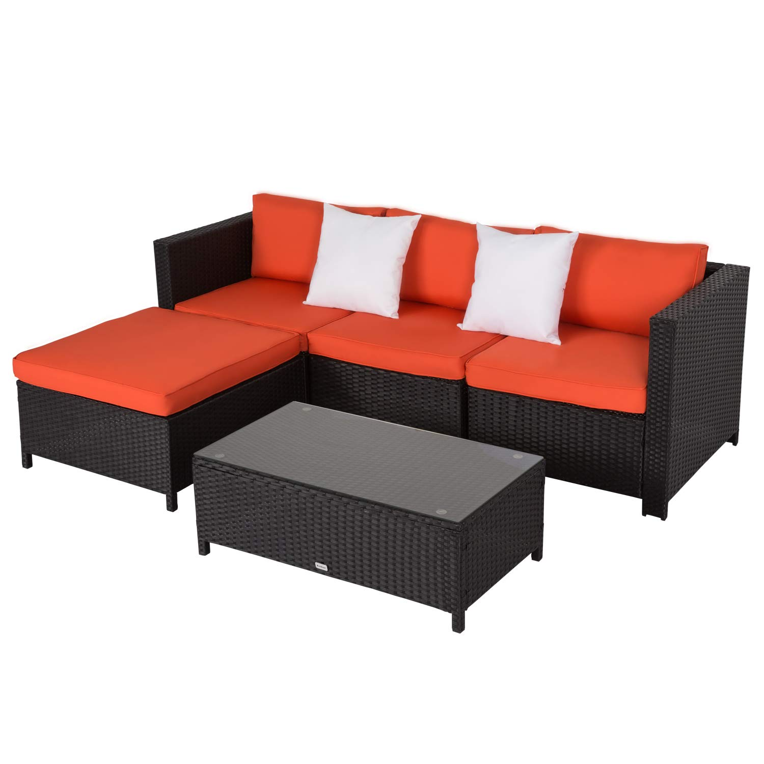 Kinbor Outdoor Wicker PE Rattan Wicker Furniture with Orange Seat Cuhsion and 2 White Pillows