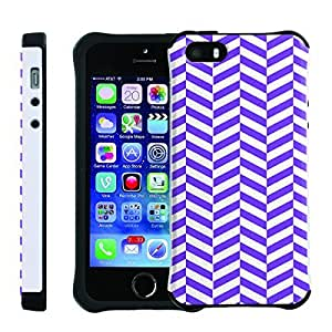 [ManiaGear] SLIM Rugged Hybrid Image Protector Cover (Chevron Purple White) for Iphone 5 / 5S