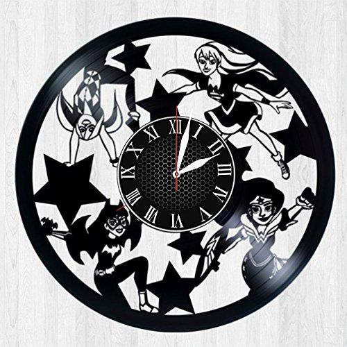 Krykavskyi Art Design Female Superheroes and villain vinyl clock handmade home bedroom living kids room nursery wall decor gifts idea for birthday men (Pictures Of Female Superheroes And Villains)