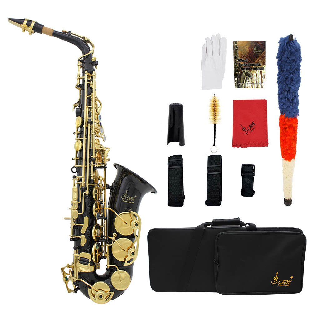ammoon LADE Eb E-Flat Alto Saxophone Brass Engraved Sax Abalone Shell Buttons with Case Gloves Cleaning Cloth Grease Belt Brush by ammoon