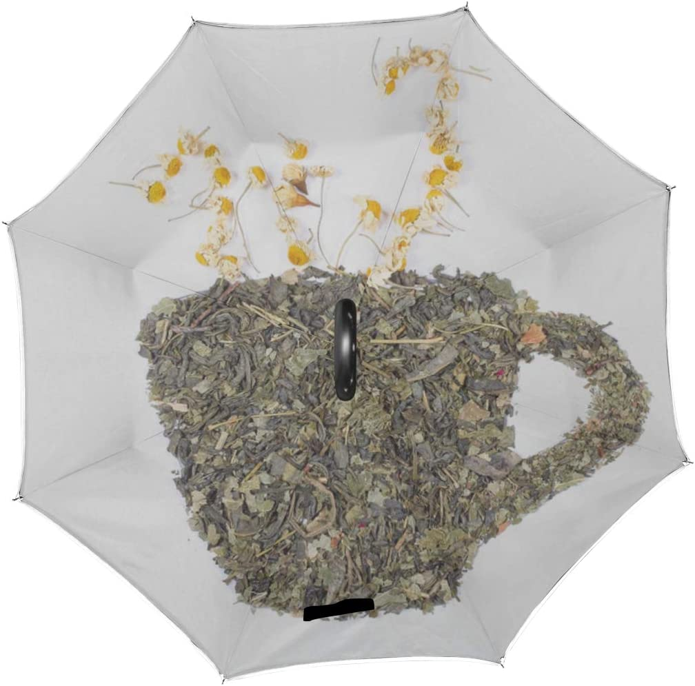 Double Layer Inverted Inverted Umbrella Is Light And Sturdy Tea Dry Herbs Lie On White Reverse Umbrella And Windproof Umbrella Edge Night Reflection