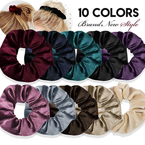 10PCS Hair Scrunchies,Velvet Scrunchy Bobbles Hair Elastics Ties,Soft Elegant Hairbands Ponytail Holder for Women and Girls
