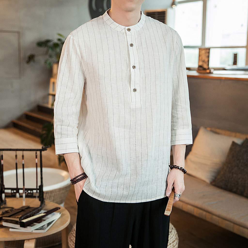 Mr.Macy Mens Summer Casual Cotton Linen Stripe Three Quarter Sleeve T Shirts Top Blouse