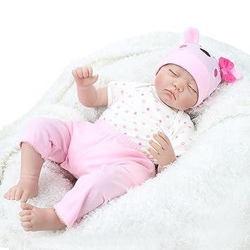 ZIYIUI 22inch 55CM Realista Dormir Reborn muñeca bebé niñas Vinilo Suave Silicona Baby Doll Niños Magnetismo Juguetes Recien Nacidos Cierra Tus Ojos ...