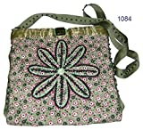 Olive Green field of flowers purse 212/1084