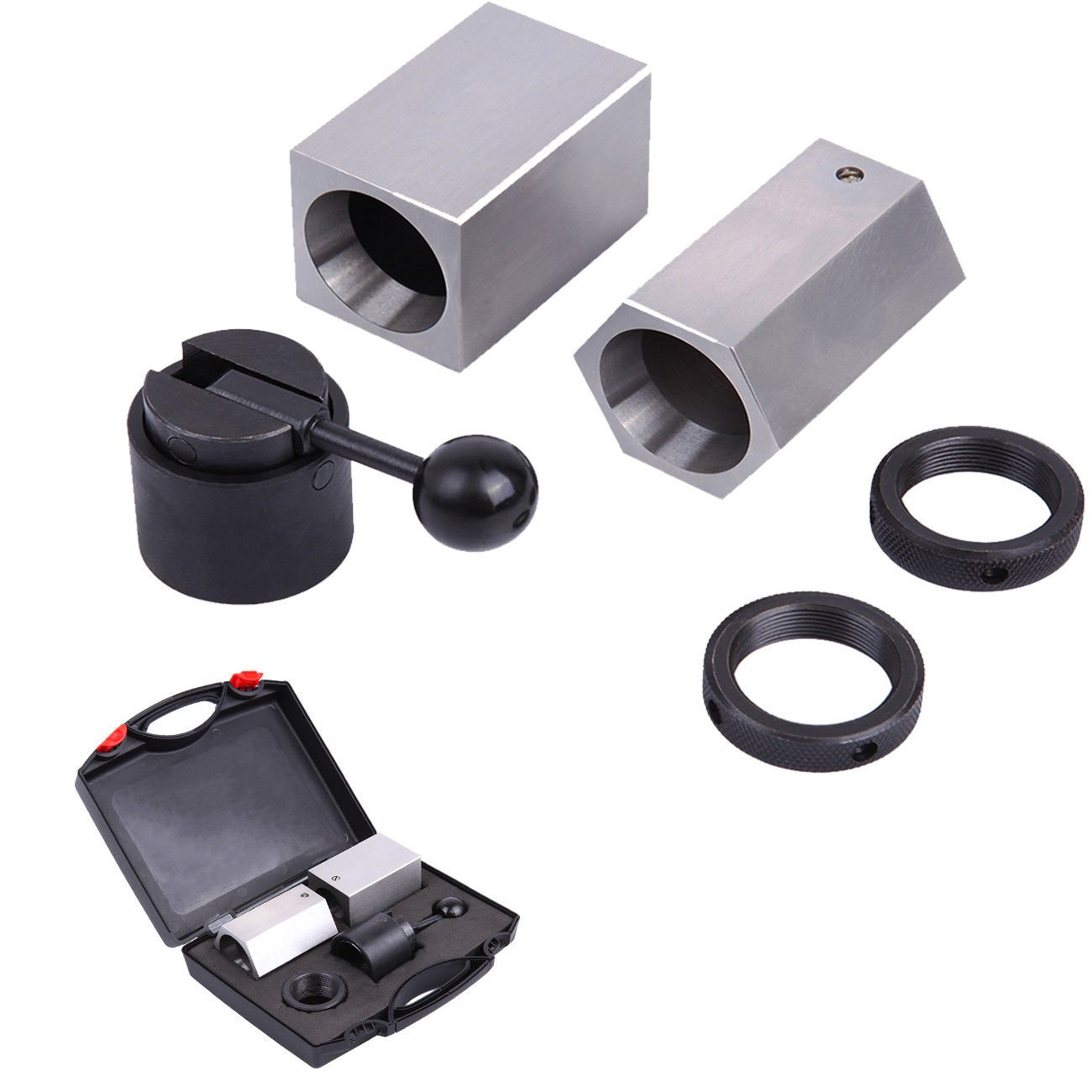 PanelTech 5C-CB Collet Block Set Four-sided & Six-sided Hardened Precision Ground 5C Collet Fixtures Square Hex Chuck Rings Closer Holder for Milling Lathes Surface Grinder with Wooden Storage Box