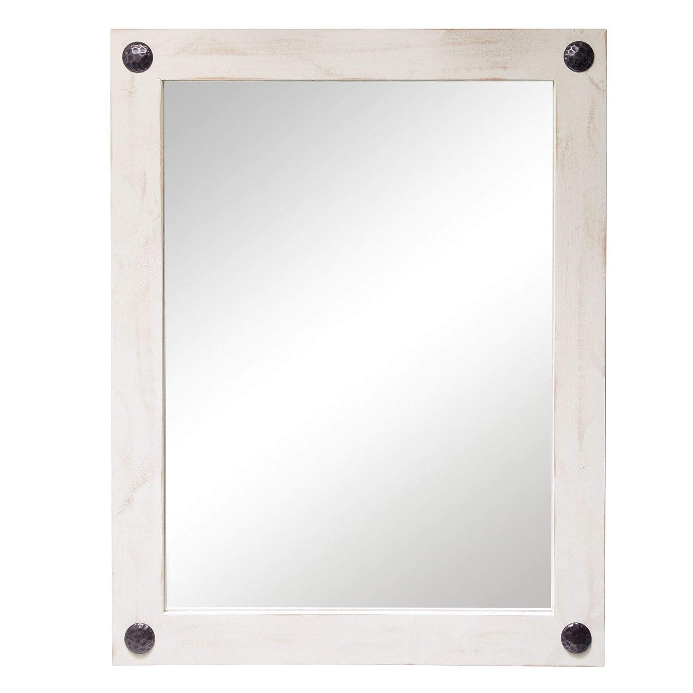 Solid Wood Frame Whitewash Finish Rectangular Vertical Horizontal Drakestone Designs Wall-Mount Modern Farmhouse Mirror for Bathroom Vanity with Clavos