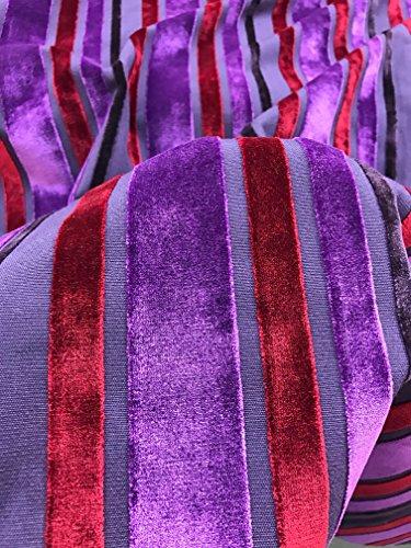 Upholstery Fabric Plum (Purple Red Plum Stripe Elegant Raised Upholstery Velvet Fabric Sold By The Yard)