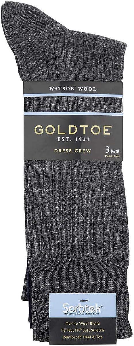 Gold Toe Mens 3 Pack Watson Wool Dress Crew Shoe Size 6-12-1/2