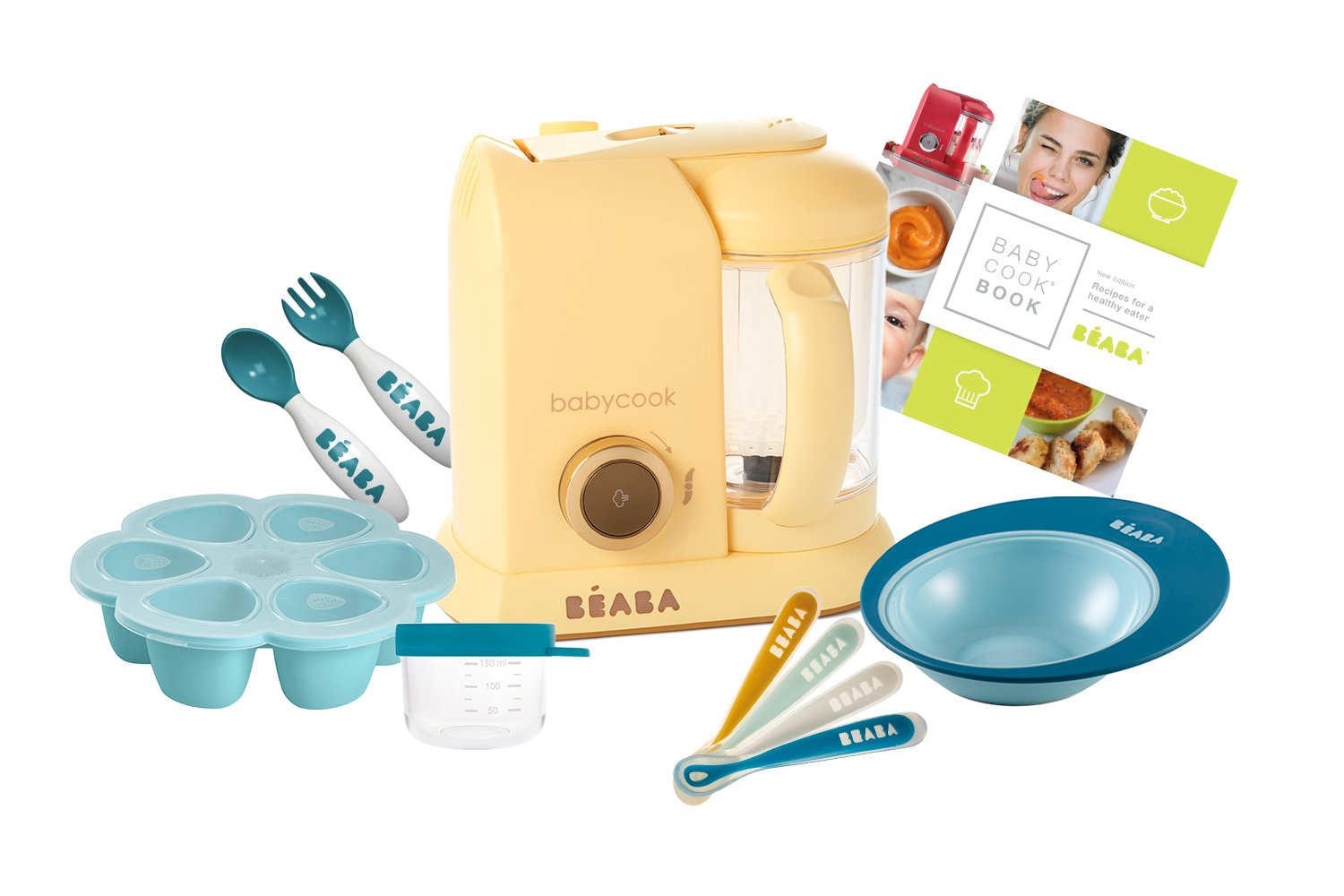 BEABA 2nd Stage Feeding Gift Set, includes Babycook, silicone spoons, 2nd stage cutlery, silicone food storage tray, bowls, glass containers, cookbook, Lemon