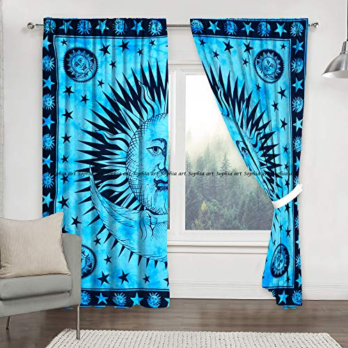 - Sophia Art Firoji Sun Moon Tye Dye Mandala Window Curtains Indian Drape Balcony Room Decor Curtain Boho Set Urban Large Tapestry Window Dorm Curtains Drapes Valances