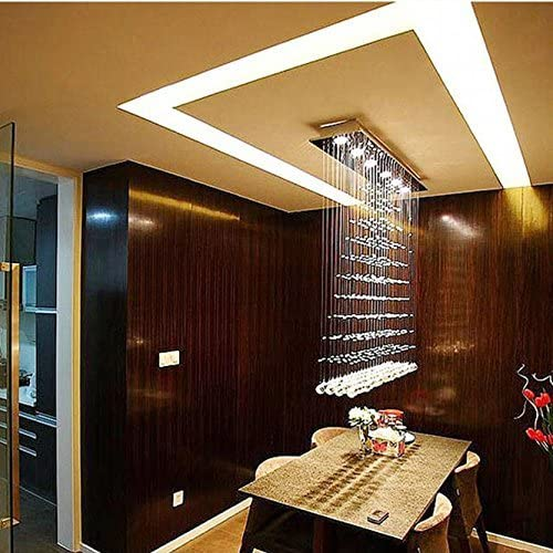 7PM Modern Crystal Chandelier Pendant Lamp Light Fixture Ceiling Lamp 8 Lights Required for Dining Room Kitchen Flush Mount H47 x W47 x D10 Inches
