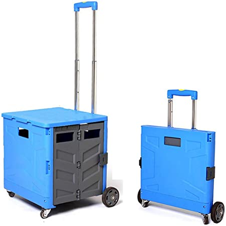 Carretilla De Mano Carrito Plegable Transporte, Carro Portátil para Transportar Compra Caja Plástico con Frenos De Pie, 4 Ruedas Asa De Aluminio 42X42x101cm MAX 35Kg,Azul: Amazon.es: Hogar